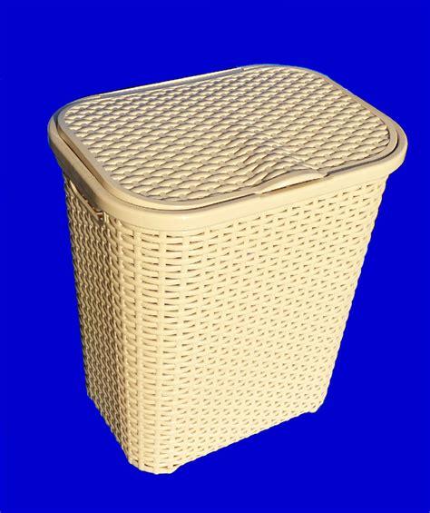 Cream Beige Straw Effect Plastic Laundry Basket Hamper Plastic Laundry With Lid