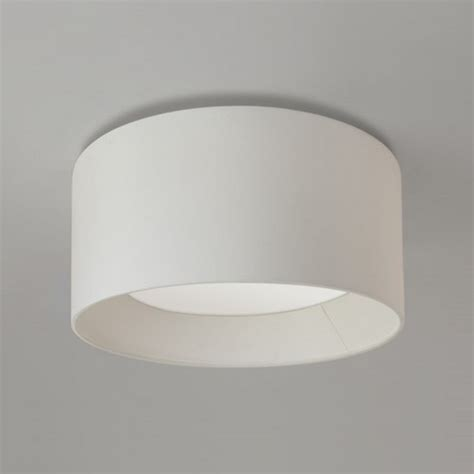 Fabric Flush Ceiling Light Circular Ceiling Light For Low Height Ceilings With White Fabric Shade
