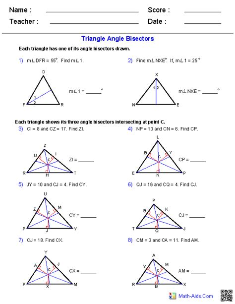 Angles Of Triangles Worksheet by Geometry Worksheets Triangle Worksheets