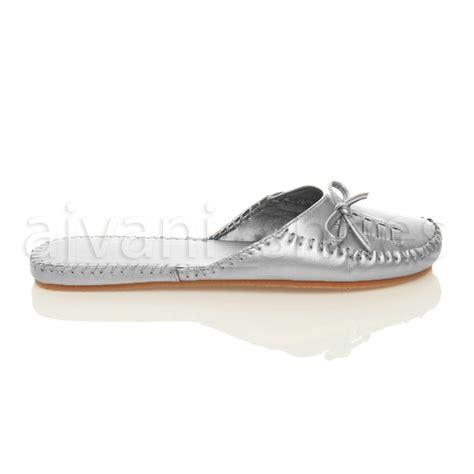 flat mules shoes womens flat slip on bow toe casual mules