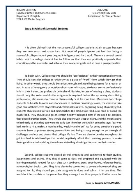 Of Students Essay by Essay 2 Succesful College Students Habits By Yassine Ait Hammou