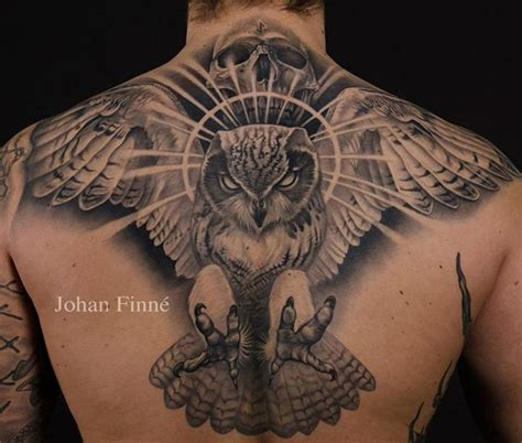 owl tattoo upper back traditional eagle with skull tattoo on upper back