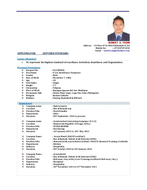 Hotel Steward Sle Resume by Effective Cv Sle For Kitchen Steward Position Vinodomia