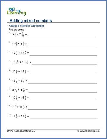 Worksheets For Fractions Grade 6 grade 6 addition and subtraction of fractions worksheets