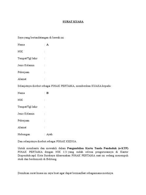 contoh surat kuasa pengambilan ktp