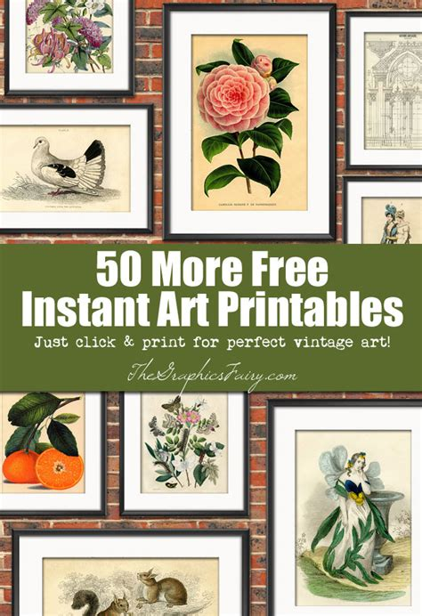 free printable wall art vintage 50 more free wall art printables the graphics fairy