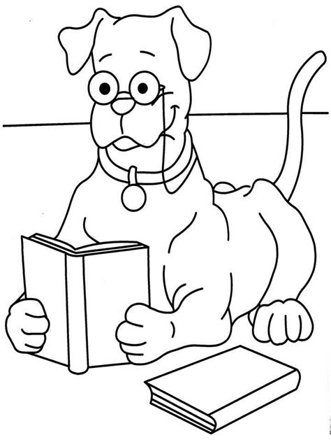 reading dog coloring page free coloring pages of animal reading
