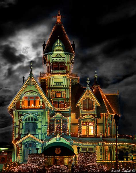 carson mansion eureka california at night with lights