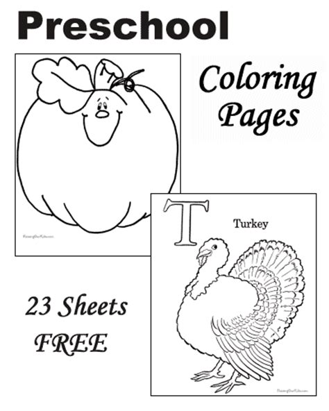 Free Coloring Pages Of Preschool Activities Kindergarten Thanksgiving Coloring Pages