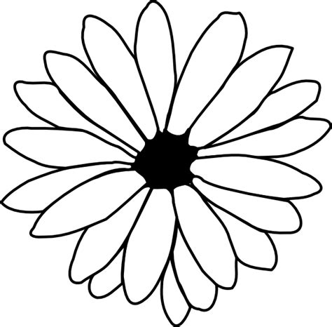 Flower Outline Black And White by Flower Outline Clip At Clker Vector Clip Royalty Free Domain