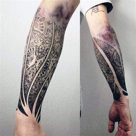 80 fractal tattoo designs for men repeating geometry ink