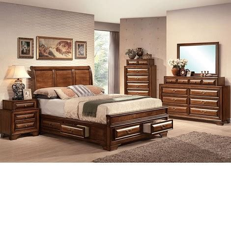 cherry finish bedroom furniture dreamfurniture com konance brown cherry finish bedroom set