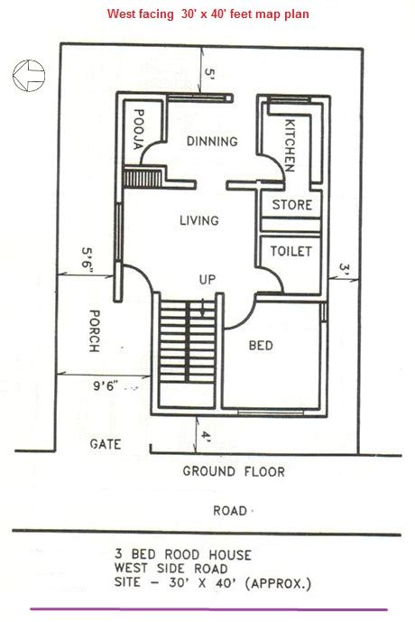 west facing house vastu floor plans house plan as per vastu for 40x40 feet west facing plot