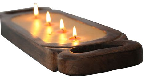 Decorative Candle Tray Small Wood Candle Tray Ancient Philosophy Eclectic