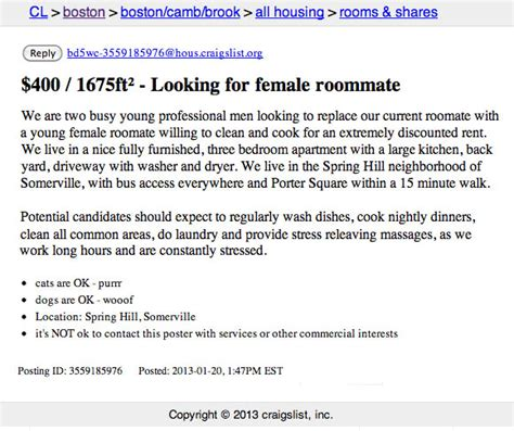 craigslist boston rooms wanted not at all creepy roommate wanted ad on cl boston