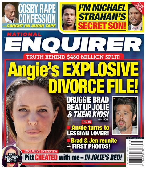The National Enquirer Uncovers Explosive Claims About Smith She Hardly Ate Just Smoked Cocaine And Drank Fruit Juice by Toxic Marriage Brad Pitt S Shocking