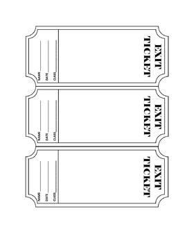 Freebie Exit Ticket Template You Can Edit This Template To Fit Your Needs Or Print It Out As Ticket Booklet Template