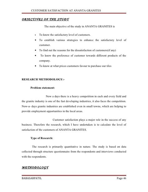 Mba Project Report On Customer Satisfaction Pdf by Customer Satisfaction At Ananta Granites Project Report