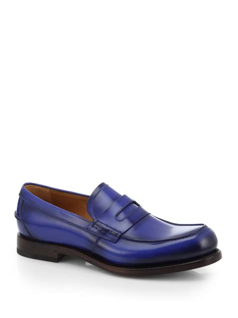 in loafers gucci leather loafers in blue navy blue lyst