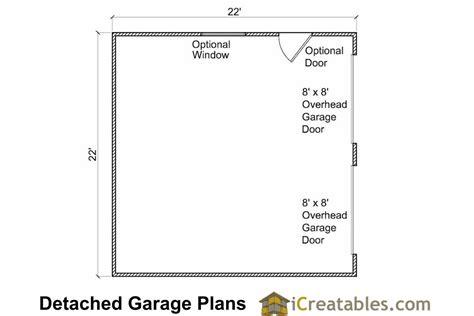 garage door floor plan 22x22 2 car 2 door detached garage eve over door plans