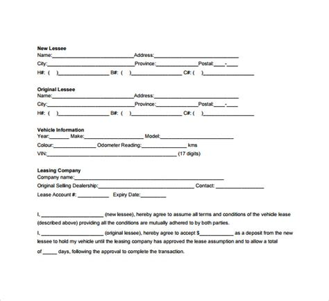 Car Lease Agreement Template Free