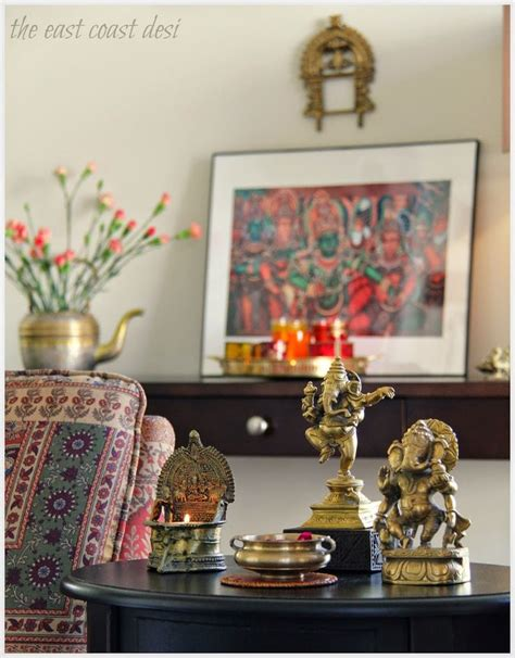 indian home decorations collect similar statues and place them at various levels