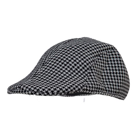 Herringbone Cap mens tweed wool herringbone flat cap peak hat black