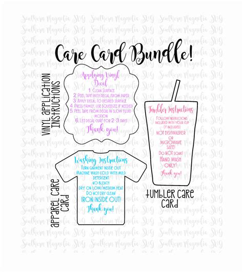 printable iron on vinyl instructions care card instructions bundle apply vinyl decal print and