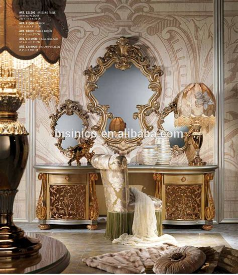 Vanité Baroque by Italian Baroque Style Wooden Dressing Table In Gold And