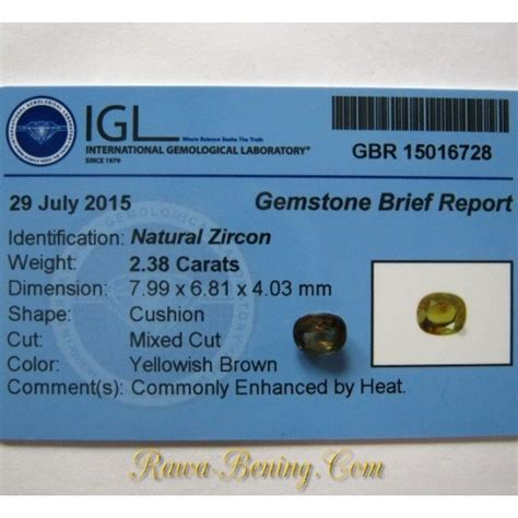 Brown Zircon Memo Mgl Lab batu permata zircon cushion cut 2 38 carat memo keaslian