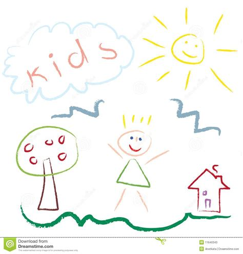 kid doodle vector free drawing picture vector stock photos image 11640343