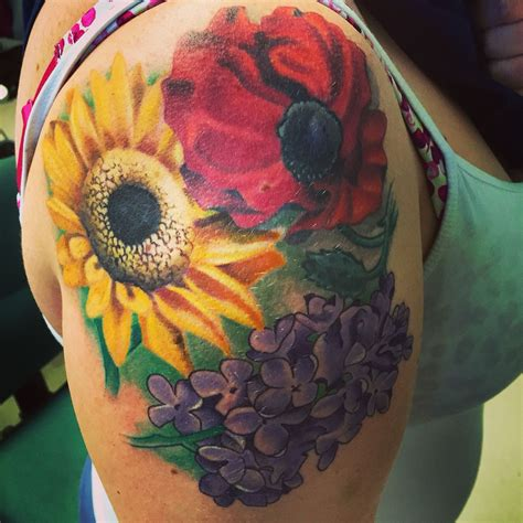 poppy and rose tattoo poppy sunflower and lilac tattoos