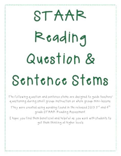 Staar Reading Question And Sentence Stems By Cranberry Tpt
