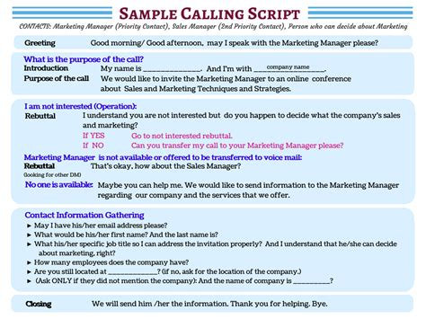 telemarketing template don t waste a moment see sle cold calling scripts