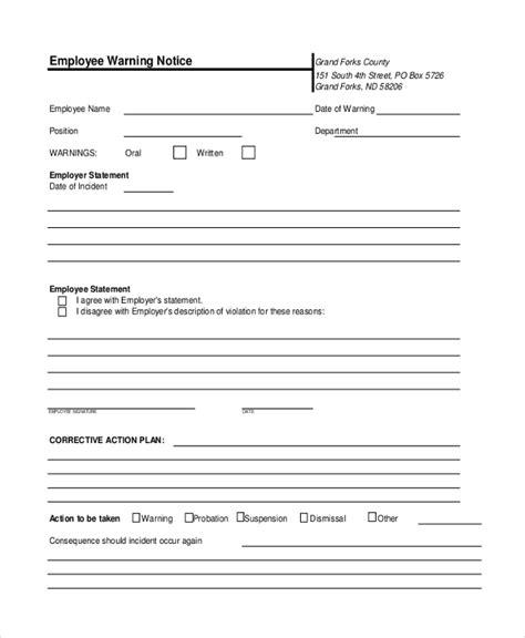 employee warning template sle employee warning notice 8 sle documents in