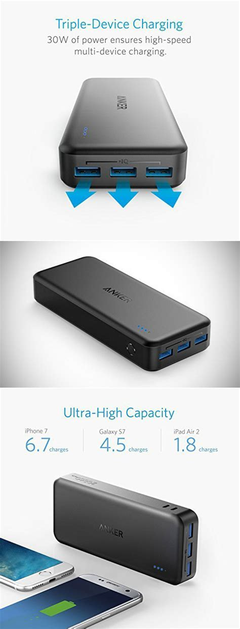 Anker Powercore Ii 20 000mah anker powercore ii 20000 portable charger powers 3 devices at once get one for 34 99 shipped