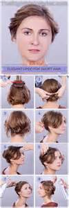 easy hairstyles for short hair tutorial step by step how to elegant updo for short fine hair
