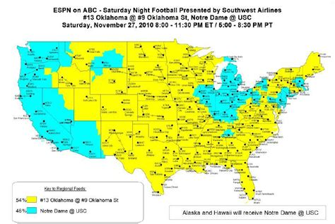 notre dame cus map 2010 notre dame usc coverage map 11 27 2010 on abc espn 8 00 pm et uhnd