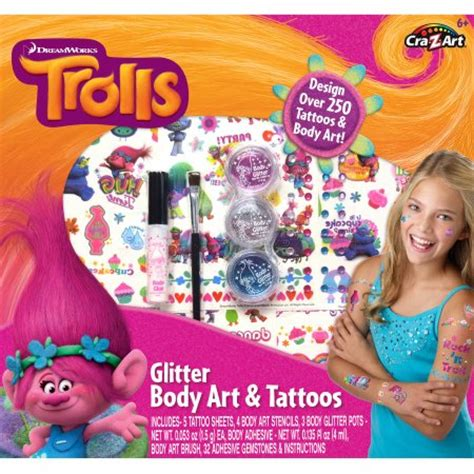 glitter tattoo kit toys r us cra z art trolls glitter body art and tattoos kit
