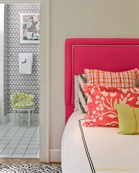 hot pink headboard contemporary girl s room katie