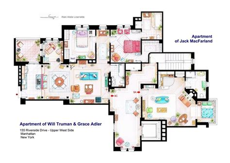 layout of big bang theory apartment floor plans of homes from famous tv shows