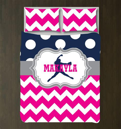 softball comforter custom softball chevron polka dot bedding for girls