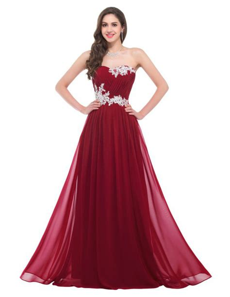 simple cheap chiffon ivory appliques long burgundy prom