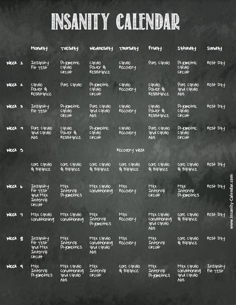 Insanity Calendar Insanity Calendar