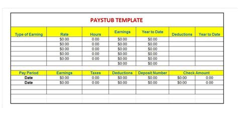 paystub templates 25 great pay stub paycheck stub templates