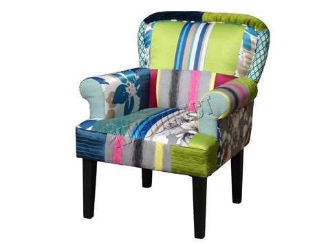 Patchwork Chairs Uk - foxhunter patchwork chair fabric vintage armchair seat