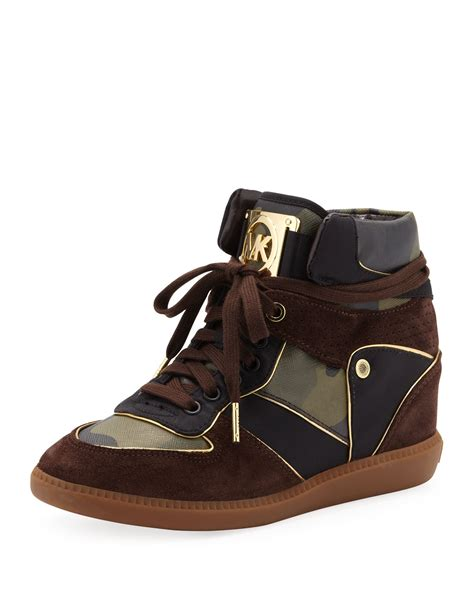 Michael Kors Olive Perforated Black lyst michael michael kors nikko hightop sneaker in brown