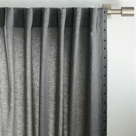 wool curtains studded wool curtain heather gray west elm