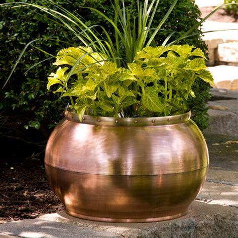 oval copper trough planter  decorative handle outdoor