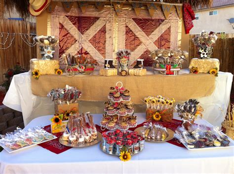 quinceanera cowgirl themes western candy table birthday pinterest candy table
